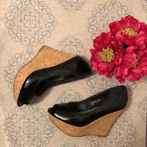 Bamboo Black Patent Wedges